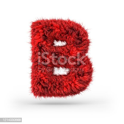 845304606 istock photo Capital letter B. Uppercase. Red fluffy and furry font. 3D 1214030568