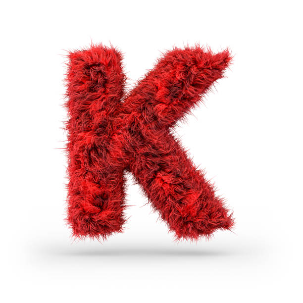Capital letter K. Uppercase. Red fluffy and furry font. 3D Capital letter K. Uppercase. Red fluffy and furry font. 3D rendering k icon stock pictures, royalty-free photos & images
