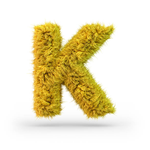 Capital letter K. Uppercase. Yellow fluffy and furry font. 3D Capital letter K. Uppercase. Yellow fluffy and furry font. 3D rendering k icon stock pictures, royalty-free photos & images