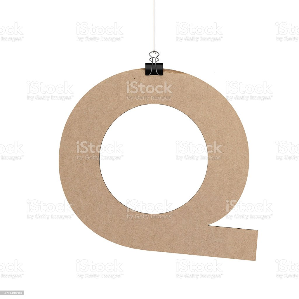 Capital letter Q hanging on string stock photo