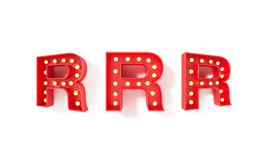 Light bulbs forming red capital letter R on white background. Horizontal composition with clipping path and copy space.