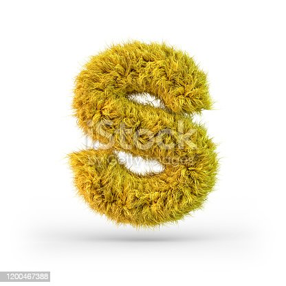 istock Capital letter S. Uppercase. Yellow fluffy and furry font. 3D 1200467388