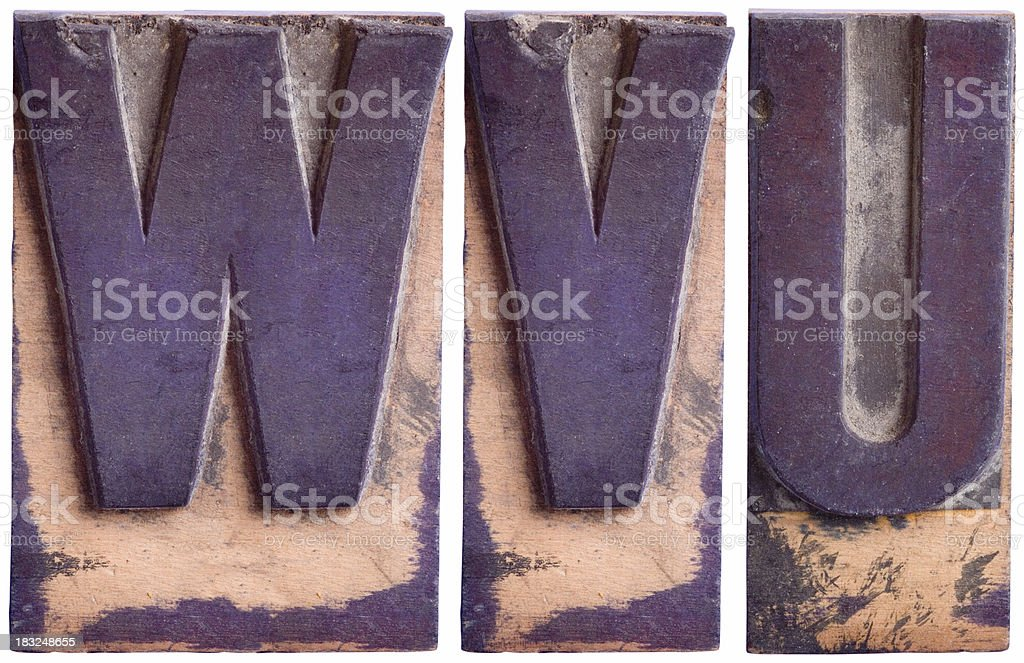 UVW - Capital Letters,  Part 6 royalty-free stock photo