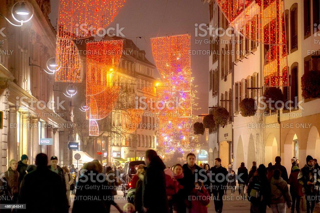 Strasbourg, France Christmass street decoration. Pedestrian area,...