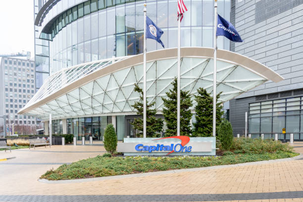 Capital one Headquarters building. Capital One Financial Corporation is an American bank holding company. stock photo