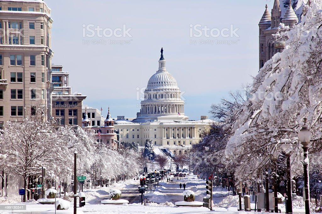 US Capital Pennsylvania Avenue After the Snow Washington DC stock photo