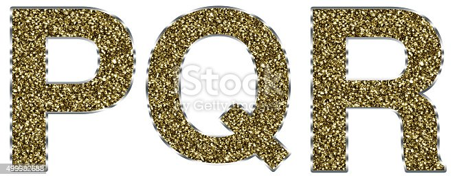 istock Capital pqr letters made of gold and silver frame 499982688