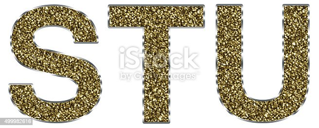 istock Capital stu letters made of gold and silver frame 499982616