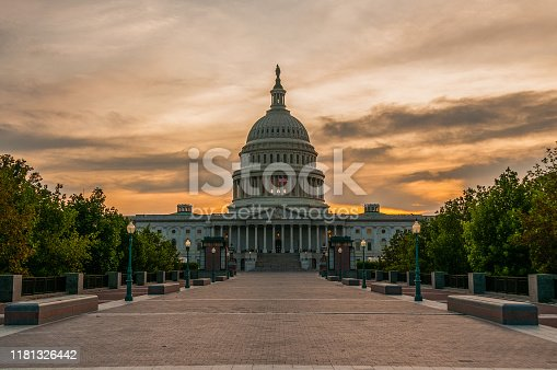 The US Capital building at sunset.