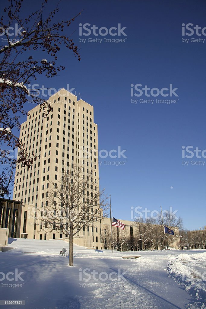 Capital Tower with Moon Rising stock photo
