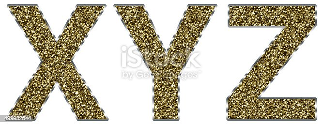 istock Capital xyz letters made of gold and silver frame 499982544