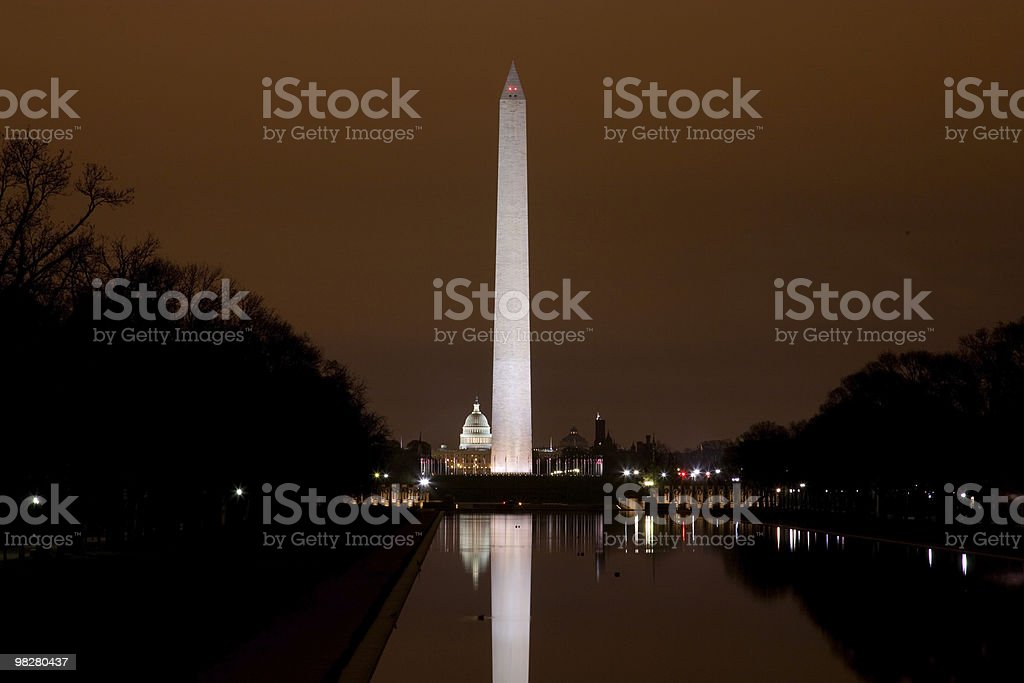 US Capitol and Washington Monument in the darkness royalty-free stock photo