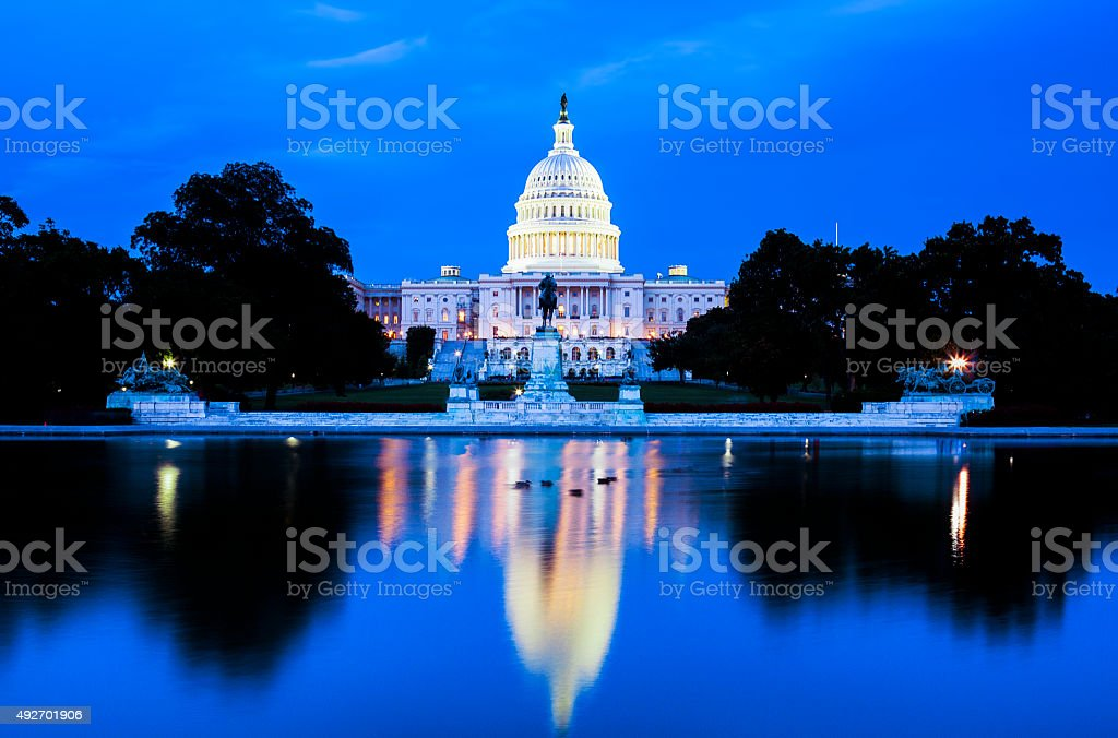 Capitol at night, DC stock photo