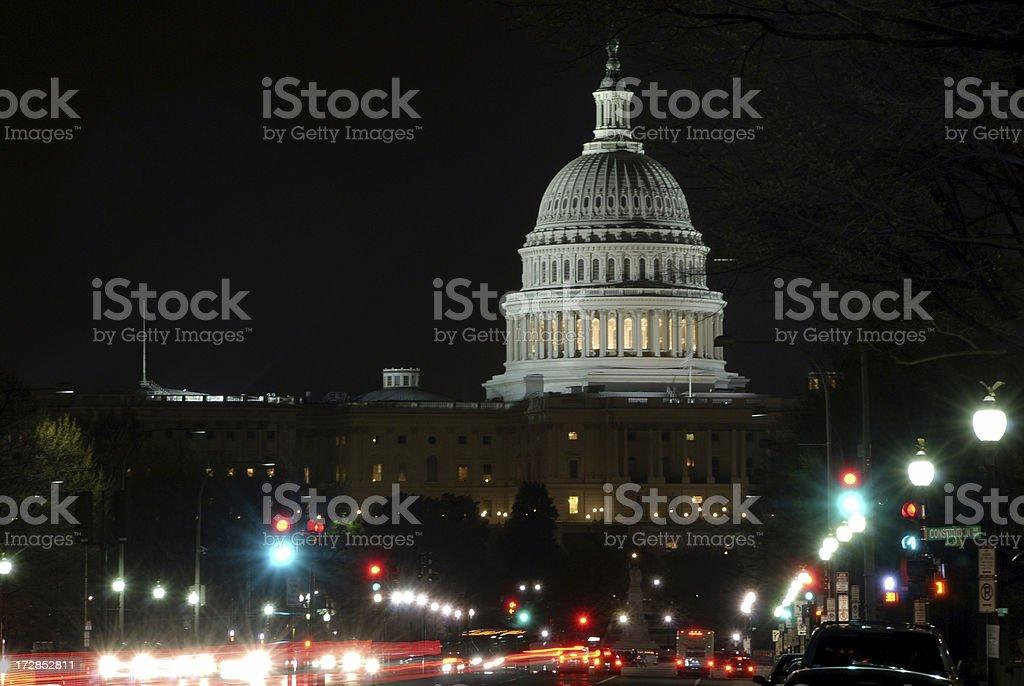 U.S. Capitol at night stock photo