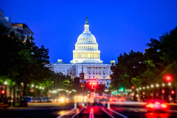 us capitol at night - washington stock photos and pictures