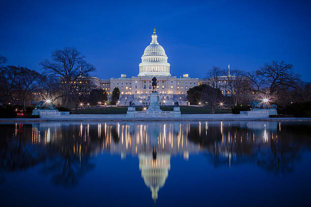 U.S. Capitol at night, with reflection on ice  state capitol building stock pictures, royalty-free photos & images