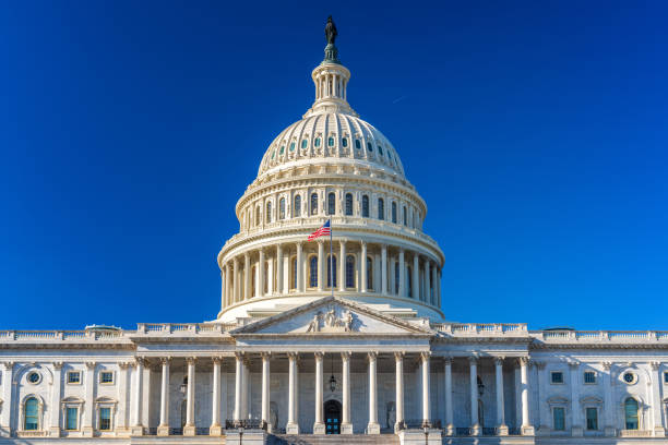 us capitol at sunny day - government stock pictures, royalty-free photos & images