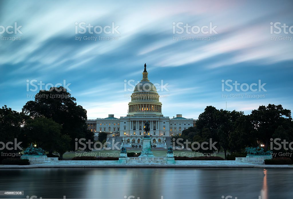 U.S. Capitol at sunrise stock photo