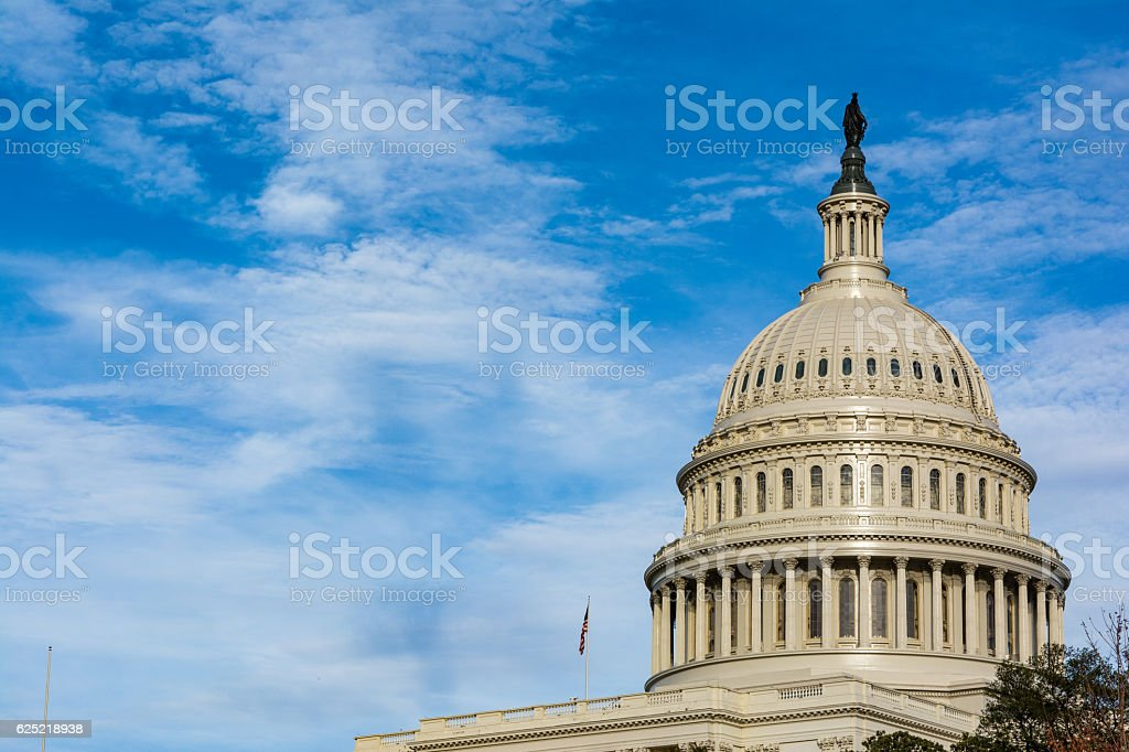 US Capitol Buiding Washington DC Dome Detail Closeup Alone Dayli stock photo