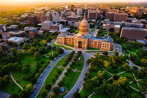 Capitol building, aerial skyline, sunset, Austin, TX,  Texas State Capital stock photo