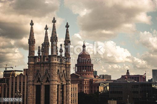 Urban landscape shot of Austin Capitol and St. Mary's Cathedral