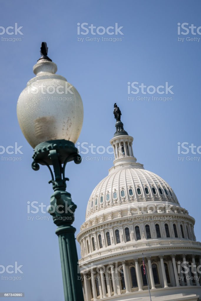 US Capitol Building and Light Pole in Washington DC stock photo
