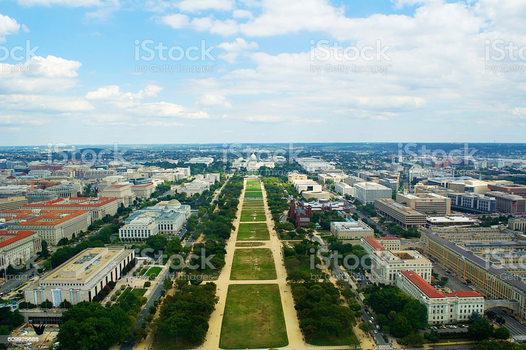 US Capitol Building and National Mall View stock photo