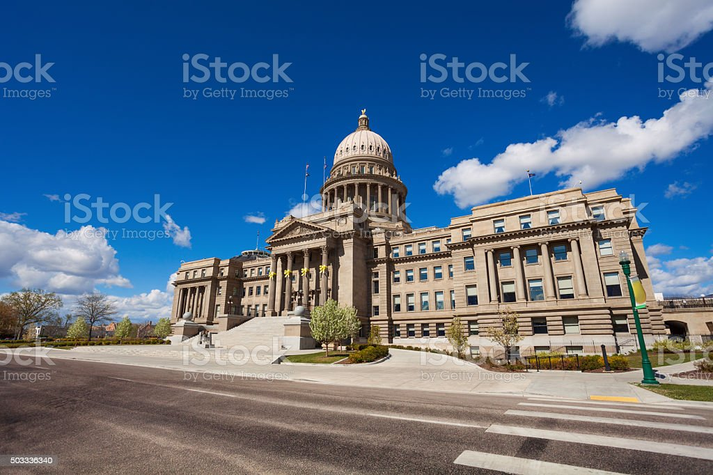 Capitol building and square in Boise, Idaho stock photo