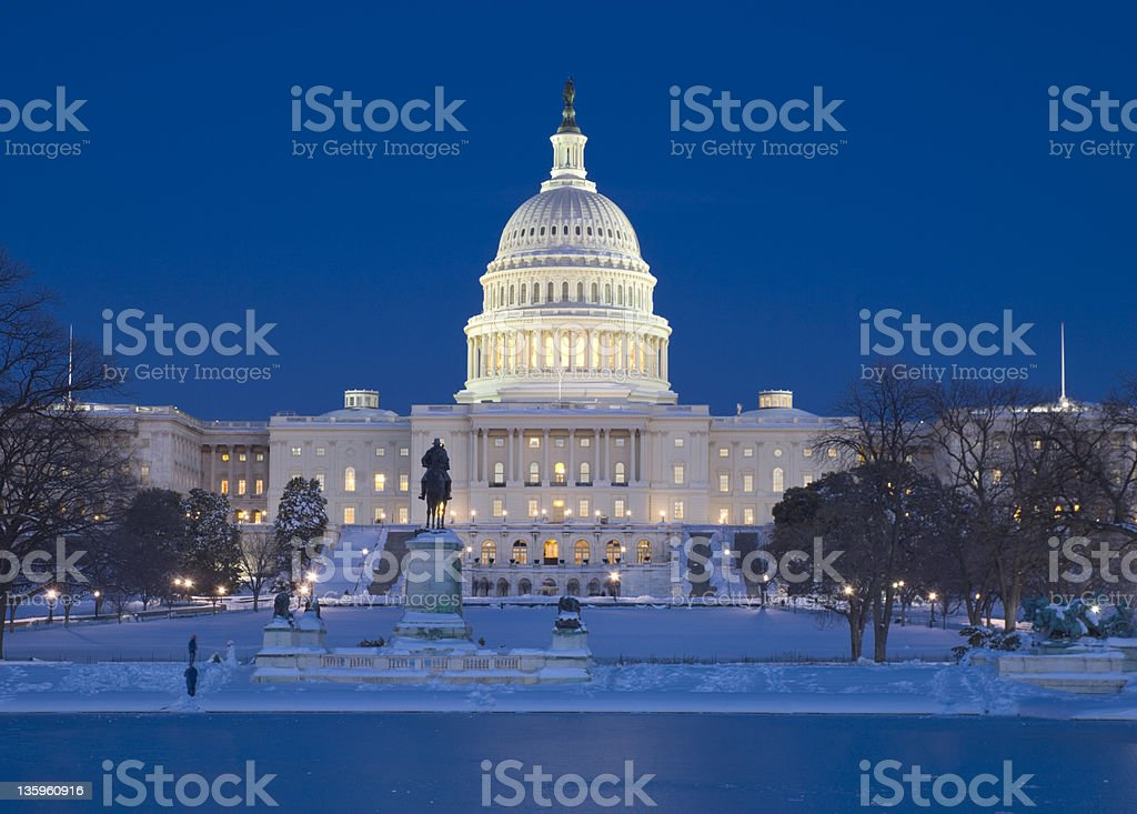 Capitol Building and surrounding grounds stock photo