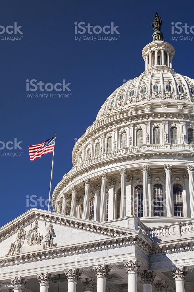 Capitol Building and the American Flag royalty-free stock photo