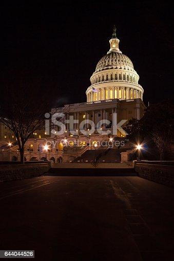Capitol Building illuminated by night lights, Washington DC, USA