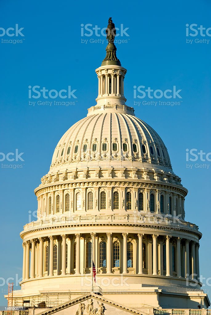 US Capitol Building Dome / Congress with Early Morning Sun royalty-free stock photo