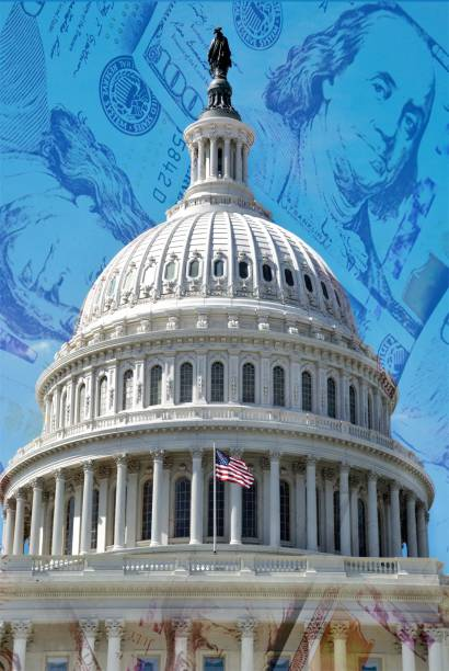 US Capitol building dome overlaid on background of 100 dollar bills US Capitol building dome overlaid on background of 100 dollar bills  Concept image for  government payments for corona virus relief, IRS refund or other financial payments. bailout stock pictures, royalty-free photos & images