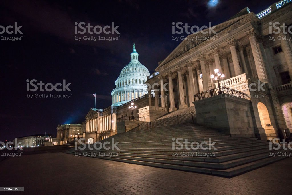 U.S. Capitol Building East Facade and Senate Wing in Washington, DC stock photo