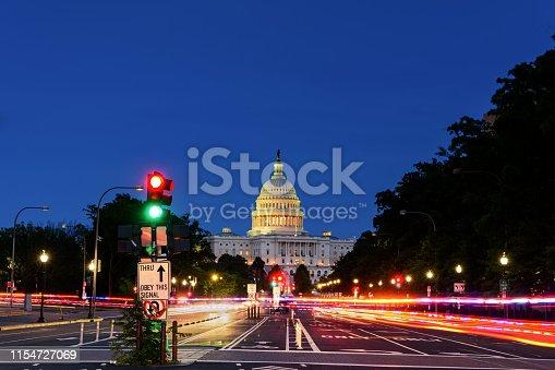 istock Capitol Building from Pennsylvania Avenue, Long exposure, Washington DC 1154727069