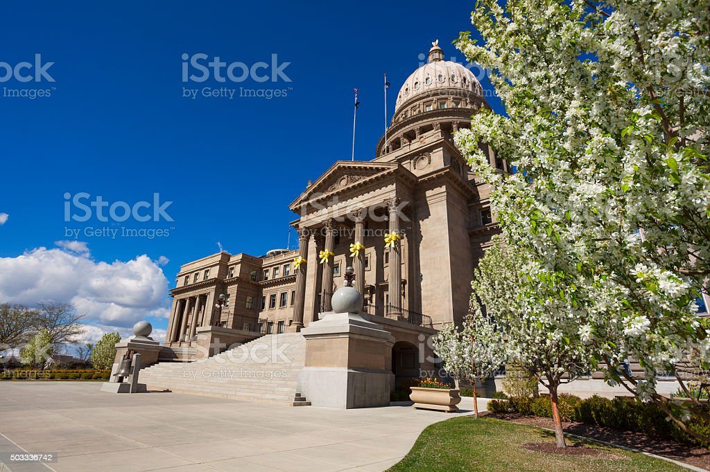 Capitol building in Boise decorated for Easter stock photo