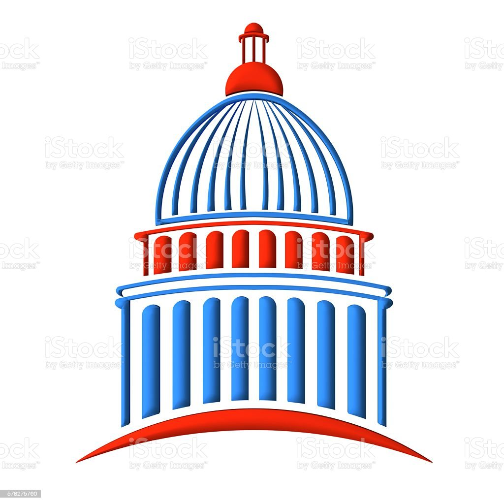 Capitol building in red white and blue stock photo