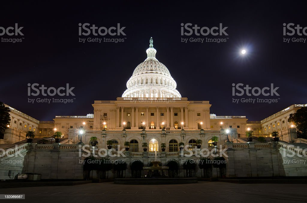 US Capitol building in the night - Washington DC USA stock photo