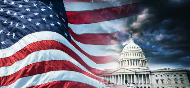capitol building in washington dc with us flag - government stock photos and pictures