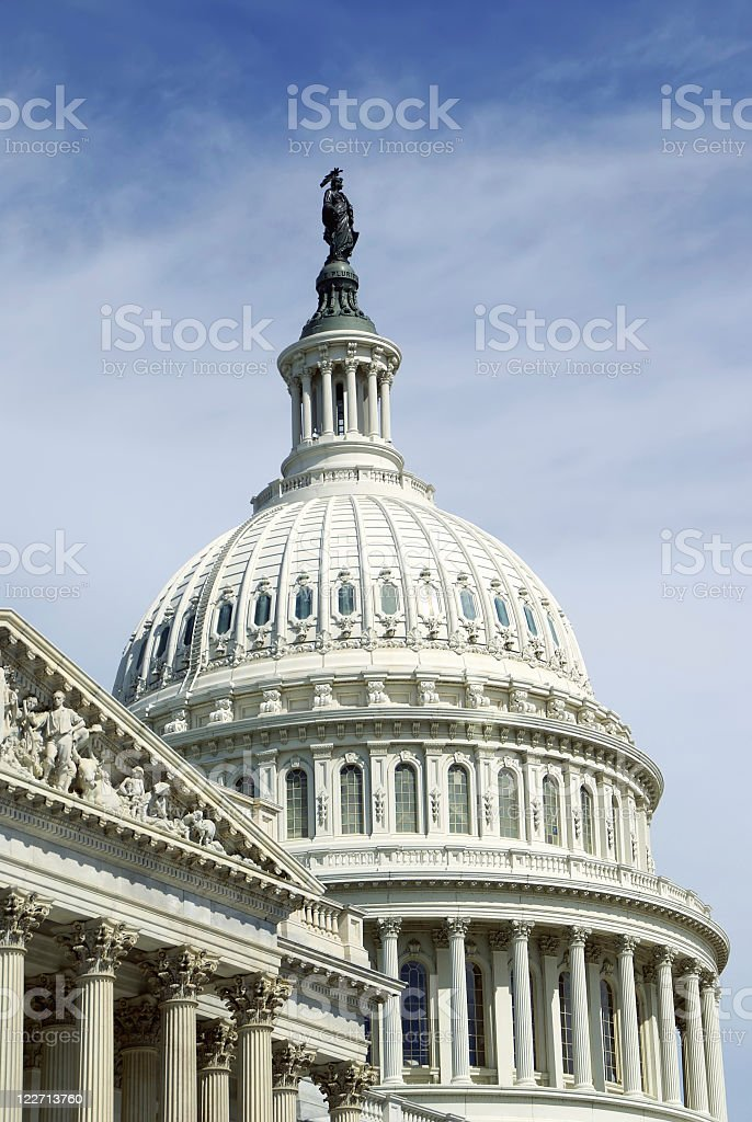 US Capitol Building looking up at Freedom royalty-free stock photo