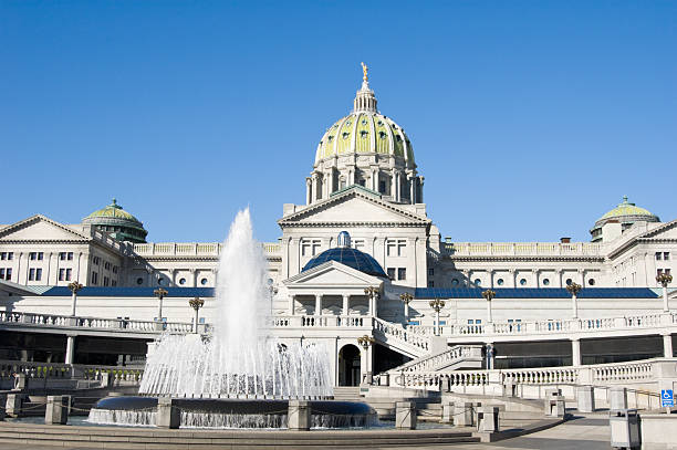 Capitol Building of Pennsylvania with Fountain, Harrisburg, PA stock photo