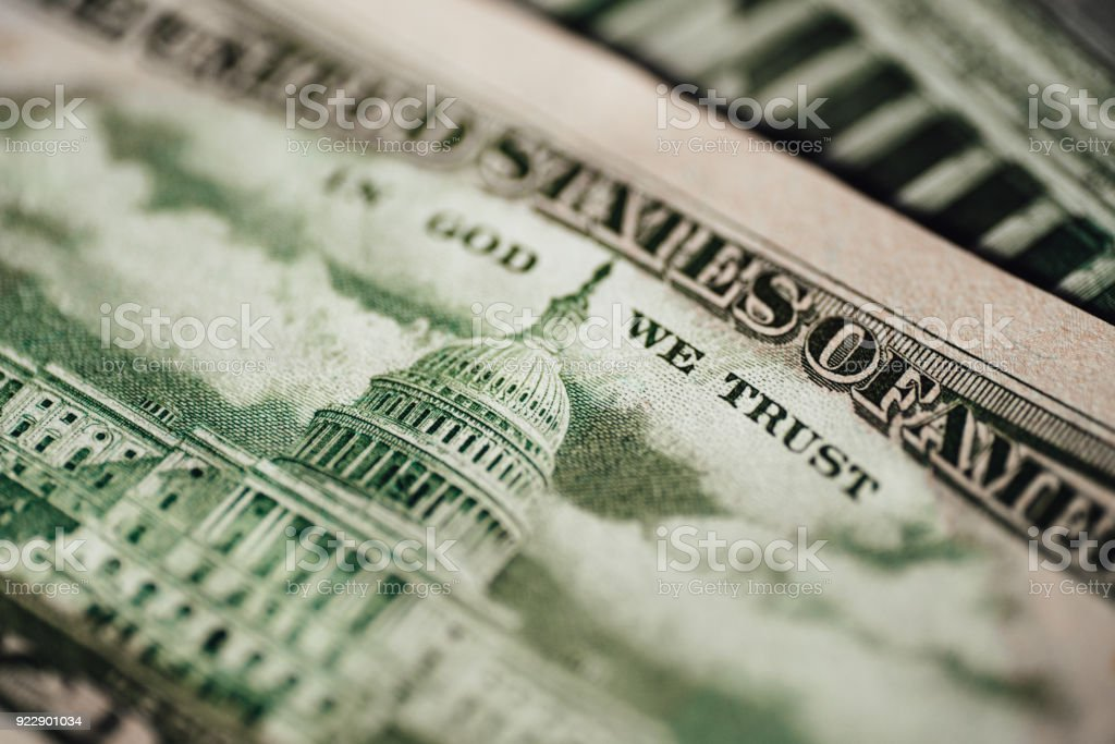 Capitol building on a US dollar bill stock photo
