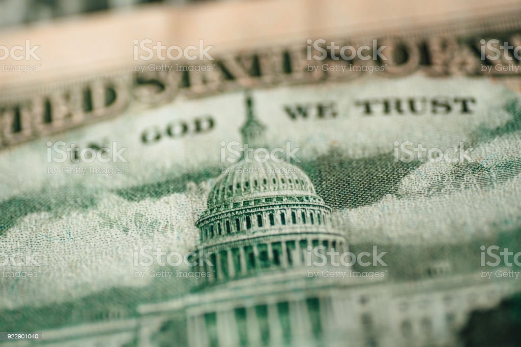 Capitol building on a US dollar bill The Capitol building featured on a 50 US dollar bill Bank - Financial Building Stock Photo