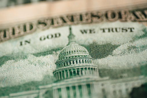 Capitol Building On A Us Dollar Bill Stock Photo - Download Image Now