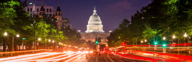 Capitol Building panorama on Pennsylvania Avenue in Washington DC USA stock photo