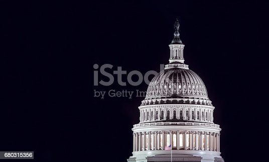 Capitol building dome in Washington DC by night