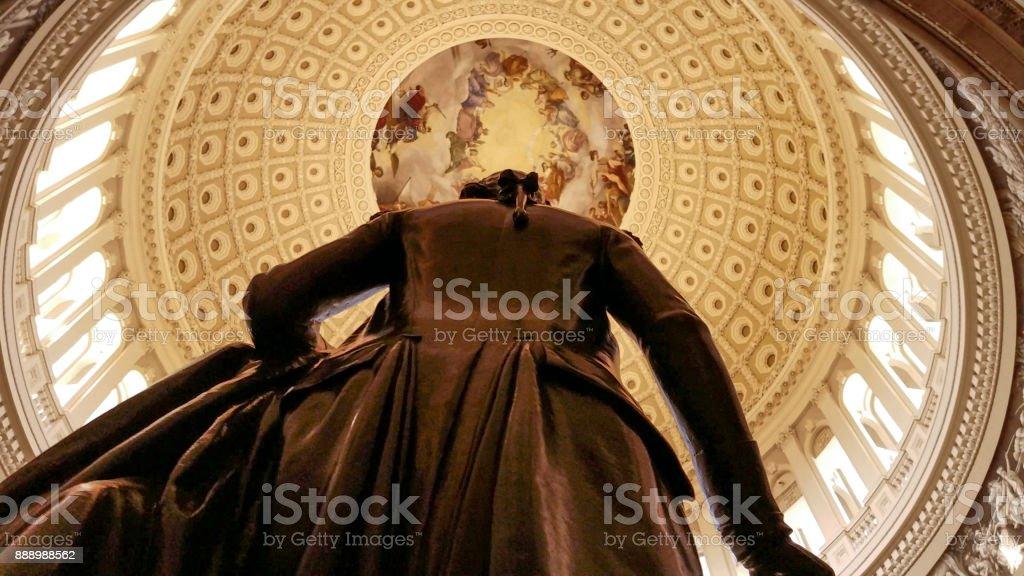 U.S. Capitol Building Rotunda George Washington in Washington, DC stock photo