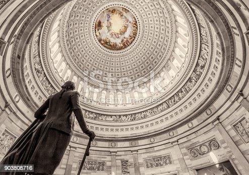 United States Capitol Building Rotunda w/ George Washington Sepia Black & White - Low angle to Dome - Washington DC