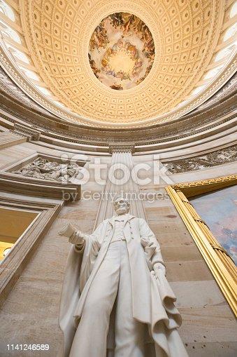 United States Capitol Building Rotunda w/ Abraham Lincoln Statue - Interior Dome with Apotheosis of Washington