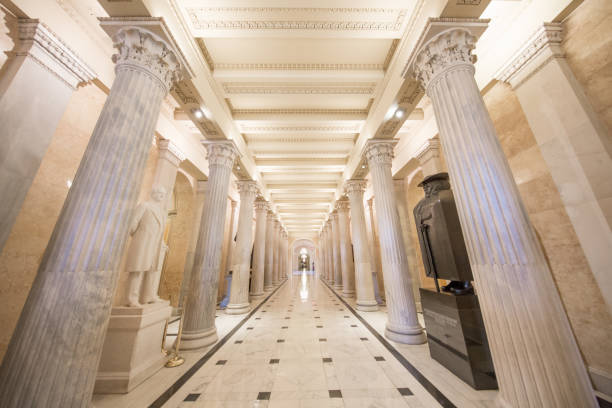 U.S. Capitol Building Senate Hall of Columns in Washington, DC stock photo